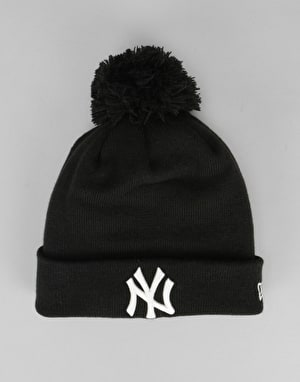 New Era MLB New York Yankees GITD Bobble Beanie - Black