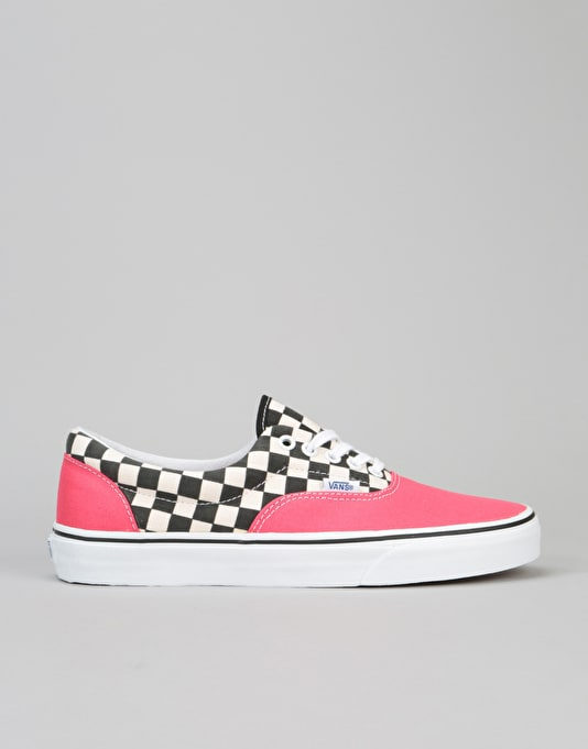 Vans Era Skate Shoes - (2-Tone Check) Rouge Red/True White