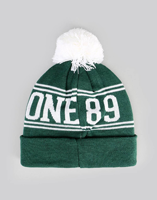 Route One Team Bobble Beanie - Forest Green/White