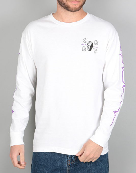 Obey Wave Lengths L/S T-Shirt - White