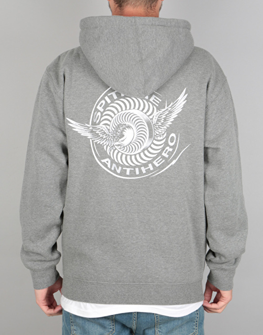 Spitfire x Anti Hero Classic Eagle Pullover Hoodie - Gunmetal Heather