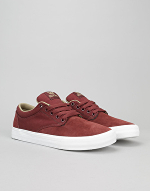 Supra Chino Skate Shoes - Burgundy/Khaki/White