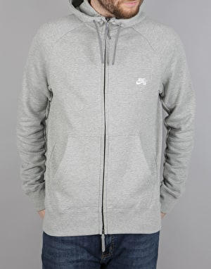 Nike SB Everett FZ Zip Hoodie - DK Grey Heather/White