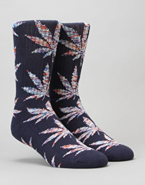 HUF Melange Leaf Plantlife Crew Socks - Navy/Blue