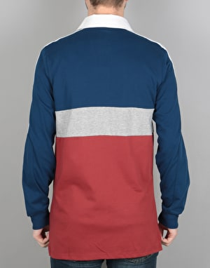 Adidas Nautical Rugby Shirt - Mystery Red/Blue/ Grey Heather/White