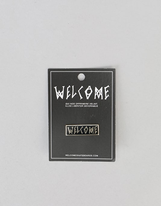 "Welcome Scrawl 1.25"" Hard Enamel Lapel Pin - Black/Gold"