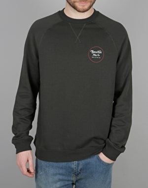 Brixton Wheeler Crew Fleece - Washed Black/Red