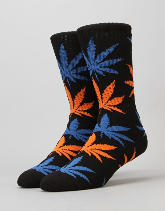 HUF Plantlife Crew Socks - Black/Blue/Orange