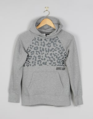 Nike SB Icon Boys Pullover Hoodie - Carbon Heather/Black