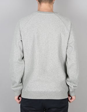 Stüssy Stock Raglan L/S Crew Sweatshirt - Grey Heather