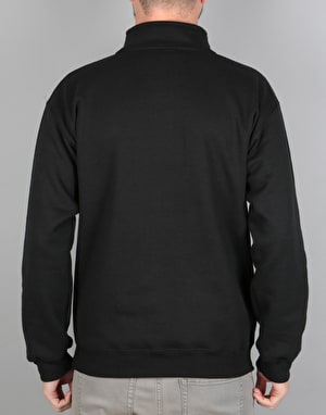 Route One Embroidered Logo Quarter Zip - Black