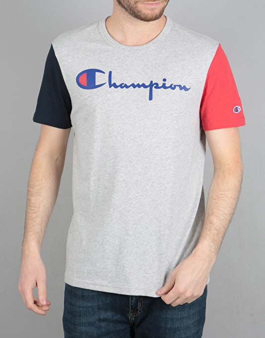 Champion Colour Block JP Jersey T-Shirt - LOXG/NVY/RED
