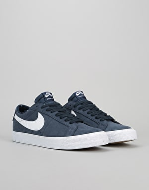 Nike SB Blazer Low Skate Shoes - Obsidian/White-Gum Light Brown-White