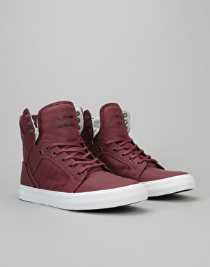 Supra Skytop Skate Shoes - Burgundy-White