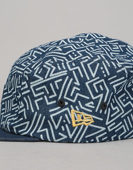 New Era Denim Print 5 Panel Cap - Royal/Gold