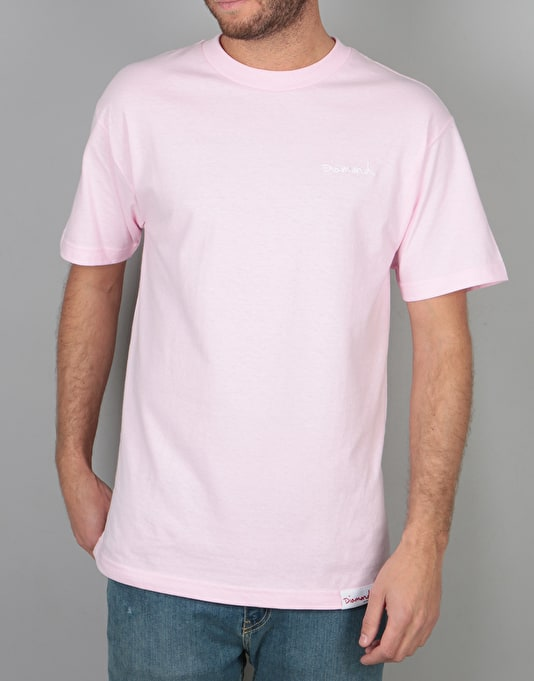 Diamond Supply Co. Men's OG Script T Shirt Pink mR8SyK9