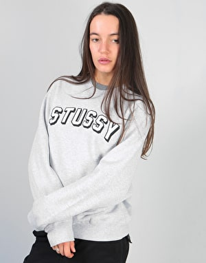 Stüssy Womens Oversized Collegiate Crew - Grey Heather
