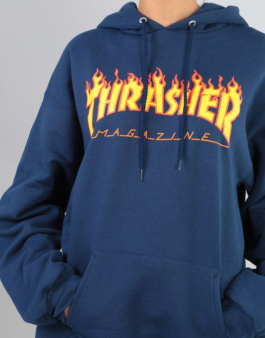 Thrasher Womens Flame Logo Oversized Pullover Hoodie - Navy