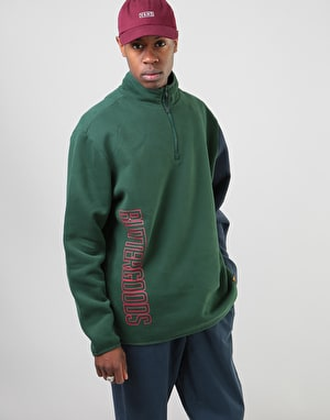 Butter Goods Outline 1/4 Zip Fleece - Forest/Navy