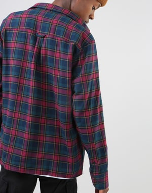 Route One Checked Flannel Shirt - Burgundy