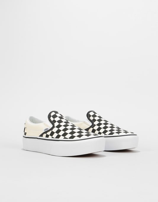 Vans Classic Slip-On Platform Womens Trainers - Black/Checkerboard