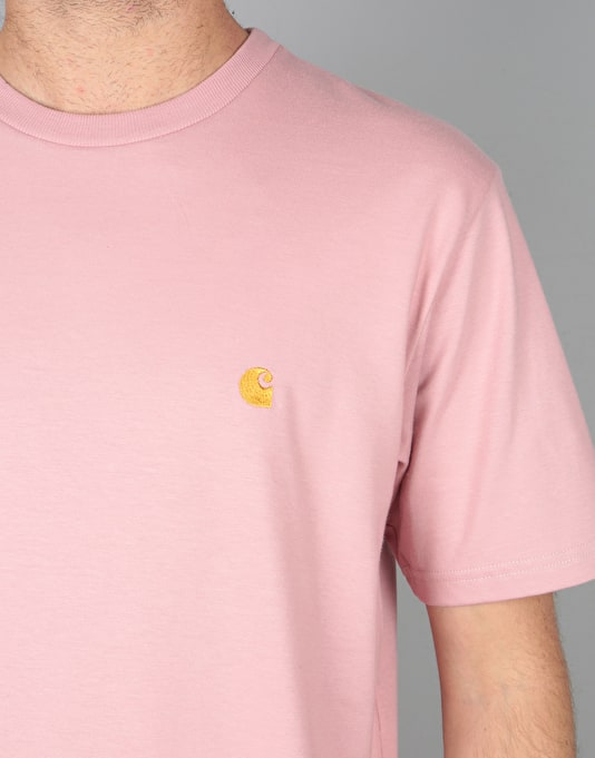 Carhartt S/S Chase T-Shirt - Soft Rose/Gold