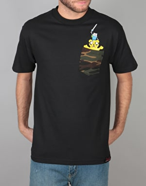 Grizzly x Adventure Time Homies Help Homies Pocket T-Shirt - Black