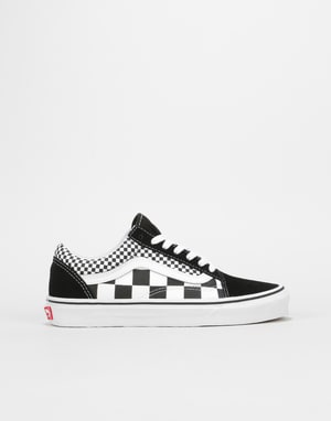 Vans Old Skool Womens Trainers - (Mixed Checker) Black/True White