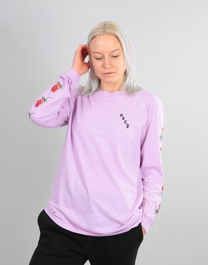 Obey Womens Slauson Rose Pigment Dyed L/S T-Shirt - Dusty Lavender