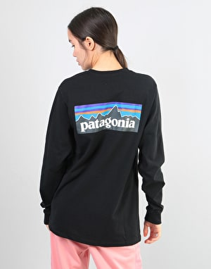 Patagonia Womens L/S P-6 Logo Oversized T-Shirt - Black