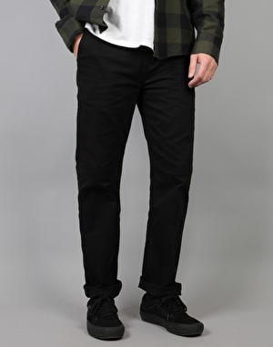 Route One Premium Relaxed Fit Chinos - Black