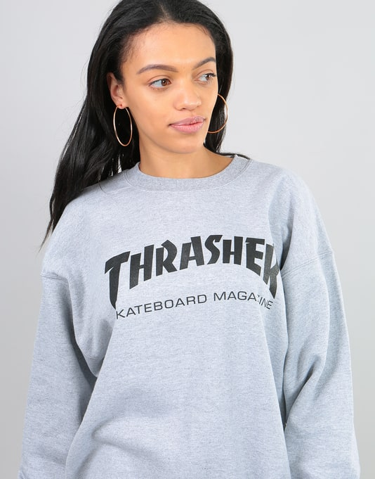 Thrasher Womens Skate Mag Oversized Sweatshirt - Heather Grey
