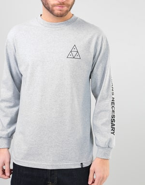 HUF Triple Triangle L/S T-Shirt - Grey Heather