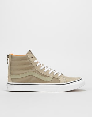 Vans Sk8-Hi Slim Zip Skate Shoes - (Boom Boom) Silver Sage/True White