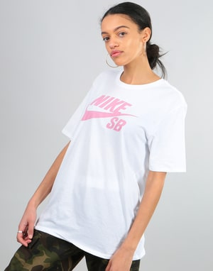 Nike SB Womens Oversized Logo T-Shirt - White/Elemental Pink