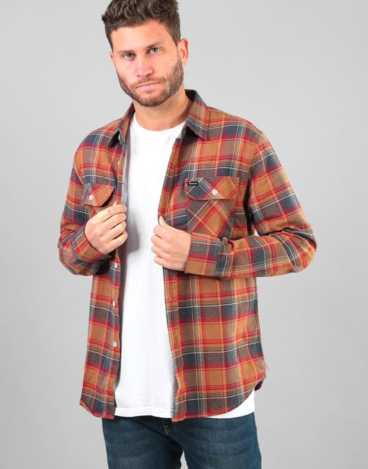 Brixton Bowery L/S Flannel Shirt - Navy/Copper