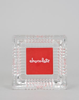 Chocolate Red Square Ashtray - Clear