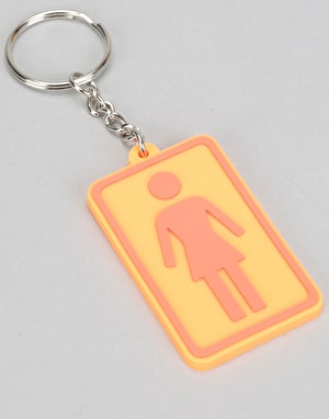 Girl Rubber Keychain - Orange