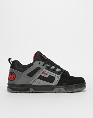 DVS Commanche Skate Shoes - Black/Charcoal/Red Nubuck