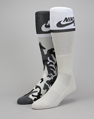 Nike SB Energy Crew Socks 2 Pack - Multi/White Camo