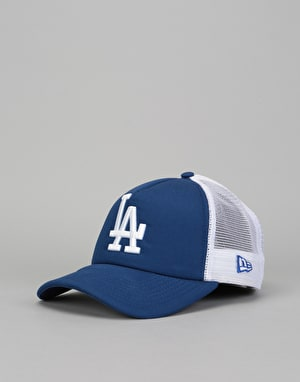 New Era MLB Los Angeles Dodgers Clean A Frame Trucker Cap - Blue/White