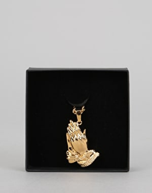 Midvs Co 18K Gold Plated Prayer Hands Necklace - Gold