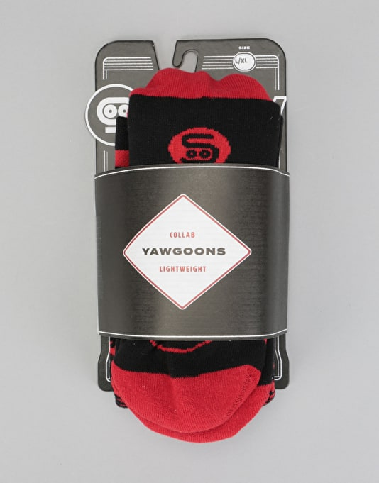 Stinky x Yawgoons LW 2018 Snowboard Socks - Black/Red
