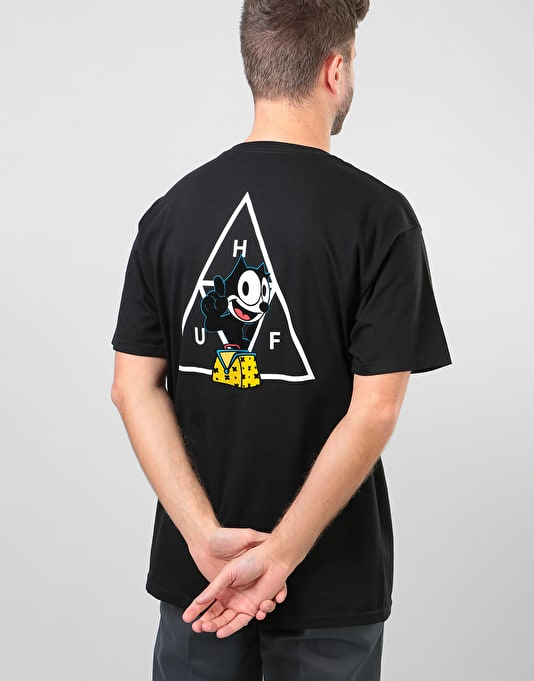 x Felix The Cat Triple Triangle Back Print T-Shirt In Black - Black HUF Where To Buy Cheap Real Outlet Official Clearance Browse Factory Price p5bKyR