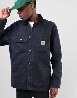 Carhartt Michigan Chore Coat - Dark Navy/Black Rinsed