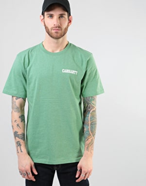 Carhartt S/S College Script T-Shirt - Catnip Heather/White