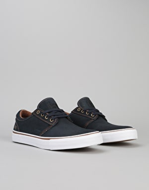 State Elgin (Waxed Suede) Skate Shoes - Navy/White Suede