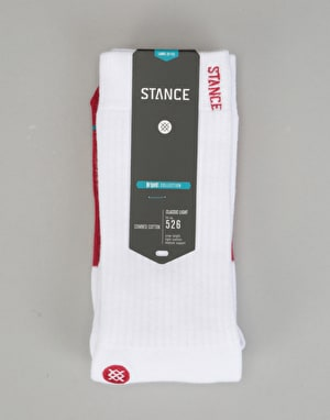 Stance Transition Classic Crew Socks - White/Red