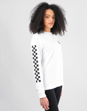 Vans Womens Half Checked L/S T-Shirt - White