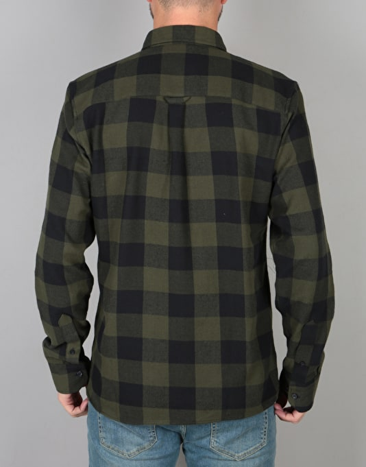 Route One Large Check Flannel Shirt - Olive